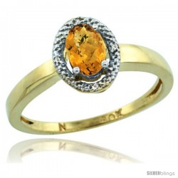 10k Yellow Gold Diamond Halo whisky Quartz Ring 0.75 Carat Oval Shape 6X4 mm, 3/8 in (9mm) wide