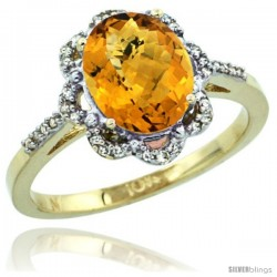 10k Yellow Gold Diamond Halo whisky Quartz Ring 1.65 Carat Oval Shape 9X7 mm, 7/16 in (11mm) wide