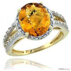 10k Yellow Gold Diamond Halo whisky Quartz Ring 2.85 Carat Oval Shape 11X9 mm, 7/16 in (11mm) wide