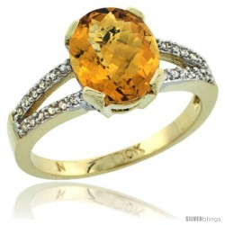 10k Yellow Gold and Diamond Halo whisky Quartz Ring 2.4 carat Oval shape 10X8 mm, 3/8 in (10mm) wide