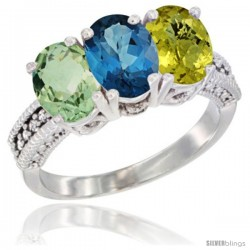14K White Gold Natural Green Amethyst, London Blue Topaz & Lemon Quartz Ring 3-Stone 7x5 mm Oval Diamond Accent