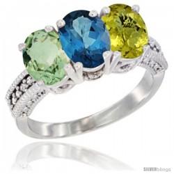 14K White Gold Natural Green Amethyst, London Blue Topaz & Lemon Quartz Ring 3-Stone 7x5 mm Oval Diamond Accent