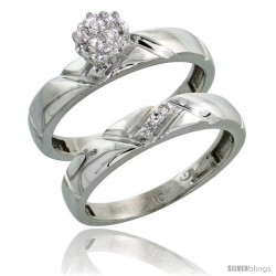 10k White Gold Diamond Engagement Rings Set 2-Piece 0.07 cttw Brilliant Cut, 5/32 in wide -Style Ljw012e2