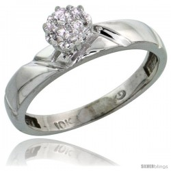 10k White Gold Diamond Engagement Ring 0.05 cttw Brilliant Cut, 5/32 in wide -Style Ljw012er