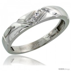 10k White Gold Ladies Diamond Wedding Band Ring 0.02 cttw Brilliant Cut, 5/32 in wide -Style Ljw012lb