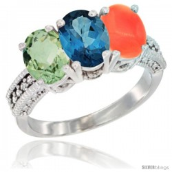 14K White Gold Natural Green Amethyst, London Blue Topaz & Coral Ring 3-Stone 7x5 mm Oval Diamond Accent