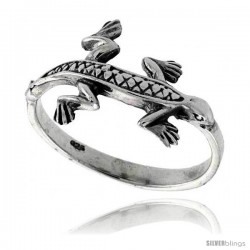 Sterling Silver Gecko Ring 1/2 in wide