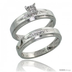 10k White Gold Diamond Engagement Rings Set 2-Piece 0.08 cttw Brilliant Cut, 3/16 in wide -Style Ljw013e2