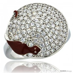 Sterling Silver Lizard on Round Ring w/ Brilliant Cut CZ Stones, 11/16 in. (17 mm) wide