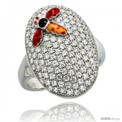 Sterling Silver Polka Dot Dragonfly on Oval Ring w/ Brilliant Cut CZ Stones, 7/8 in. (22 mm) wide