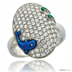 Sterling Silver Blue Dolphin on Oval Ring w/ Brilliant Cut CZ Stones, 13/16 in. (20 mm) wide