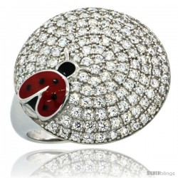 Sterling Silver Lady Bug on Round Ring w/ Brilliant Cut CZ Stones, 3/4 in. (18.5 mm) wide