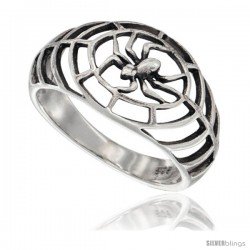 Sterling Silver Spider Web Ring 5/8 in wide