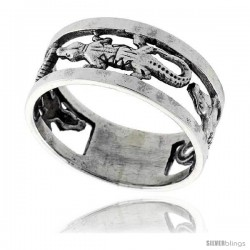 Sterling Silver Gecko Link Wedding Band Ring 3/8 wide