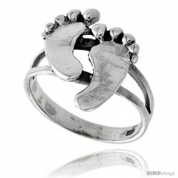 Sterling Silver Footprints Ring, 11/16 in wide
