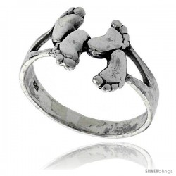 Sterling Silver Footprints Ring 5/8 in wide