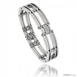 Gent's Stainless Steel Bar Bracelet, 1/2 in wide, 8 in long