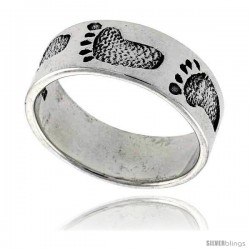 Sterling Silver Footprints Link Wedding Band Ring 3/8 wide
