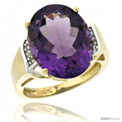 10k Yellow Gold Diamond Amethyst Ring 9.7 ct Large Oval Stone 16x12 mm, 5/8 in wide