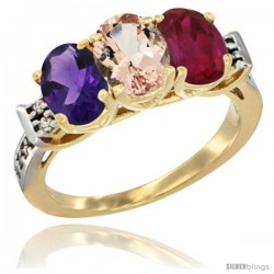 10K Yellow Gold Natural Amethyst, Morganite & Ruby Ring 3-Stone Oval 7x5 mm Diamond Accent