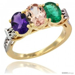 10K Yellow Gold Natural Amethyst, Morganite & Emerald Ring 3-Stone Oval 7x5 mm Diamond Accent