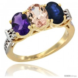 10K Yellow Gold Natural Amethyst, Morganite & Blue Sapphire Ring 3-Stone Oval 7x5 mm Diamond Accent