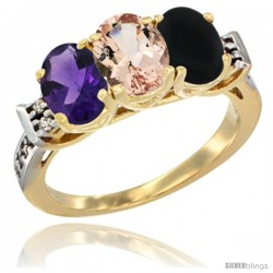 10K Yellow Gold Natural Amethyst, Morganite & Black Onyx Ring 3-Stone Oval 7x5 mm Diamond Accent