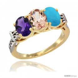 10K Yellow Gold Natural Amethyst, Morganite & Turquoise Ring 3-Stone Oval 7x5 mm Diamond Accent