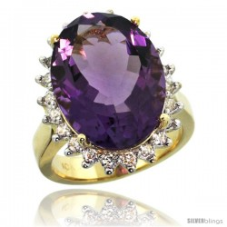 10k Yellow Gold Diamond Halo Amethyst Ring 10 ct Large Oval Stone 18x13 mm, 7/8 in wide -Style Cy901132