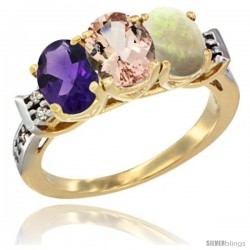 10K Yellow Gold Natural Amethyst, Morganite & Opal Ring 3-Stone Oval 7x5 mm Diamond Accent