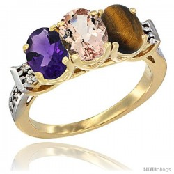 10K Yellow Gold Natural Amethyst, Morganite & Tiger Eye Ring 3-Stone Oval 7x5 mm Diamond Accent