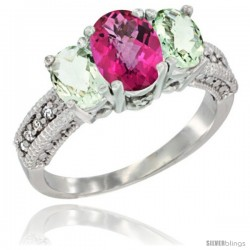14k White Gold Ladies Oval Natural Pink Topaz 3-Stone Ring with Green Amethyst Sides Diamond Accent