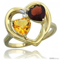 14k Yellow Gold 2-Stone Heart Ring 6mm Natural Citrine & Garnet Diamond Accent