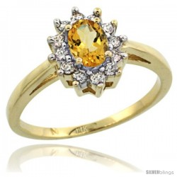 14k Yellow Gold Citrine Diamond Halo Ring Oval Shape 1.2 Carat 6X4 mm, 1/2 in wide