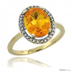 14k Yellow Gold Diamond Halo Citrine Ring 2.4 carat Oval shape 10X8 mm, 1/2 in (12.5mm) wide