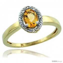 14k Yellow Gold Diamond Halo Citrine Ring 0.75 Carat Oval Shape 6X4 mm, 3/8 in (9mm) wide