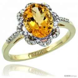 14k Yellow Gold Diamond Halo Citrine Ring 1.65 Carat Oval Shape 9X7 mm, 7/16 in (11mm) wide