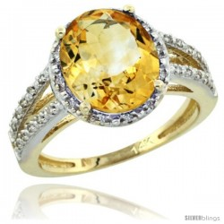 14k Yellow Gold Diamond Halo Citrine Ring 2.85 Carat Oval Shape 11X9 mm, 7/16 in (11mm) wide