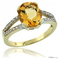 14k Yellow Gold and Diamond Halo Citrine Ring 2.4 carat Oval shape 10X8 mm, 3/8 in (10mm) wide