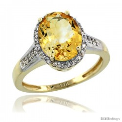 14k Yellow Gold Diamond Citrine Ring 2.4 ct Oval Stone 10x8 mm, 1/2 in wide