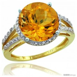 14k Yellow Gold Diamond Citrine Ring 5.25 ct Round Shape 11 mm, 1/2 in wide