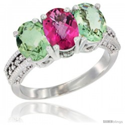 14K White Gold Natural Pink Topaz & Green Amethyst Ring 3-Stone 7x5 mm Oval Diamond Accent