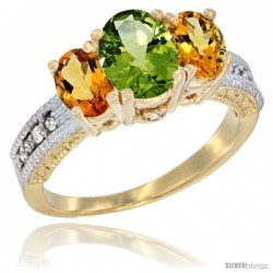 14k Yellow Gold Ladies Oval Natural Peridot 3-Stone Ring with Citrine Sides Diamond Accent