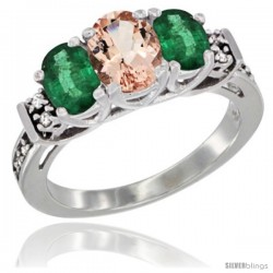 14K White Gold Natural Morganite & Emerald Ring 3-Stone Oval with Diamond Accent