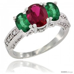 14k White Gold Ladies Oval Natural Ruby 3-Stone Ring with Emerald Sides Diamond Accent
