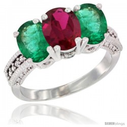 14K White Gold Natural Ruby & Emerald Sides Ring 3-Stone 7x5 mm Oval Diamond Accent