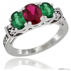 14K White Gold Natural High Quality Ruby & Emerald Ring 3-Stone Oval with Diamond Accent