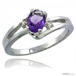 10K White Gold Natural Amethyst Ring Oval 6x4 Stone Diamond Accent -Style Cw901165