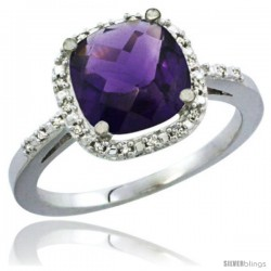 10K White Gold Natural Amethyst Ring Cushion-cut 8x8 Stone Diamond Accent