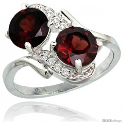 14k White Gold ( 7 mm ) Double Stone Engagement Garnet Ring w/ 0.05 Carat Brilliant Cut Diamonds & 2.34 Carats Round Stones
